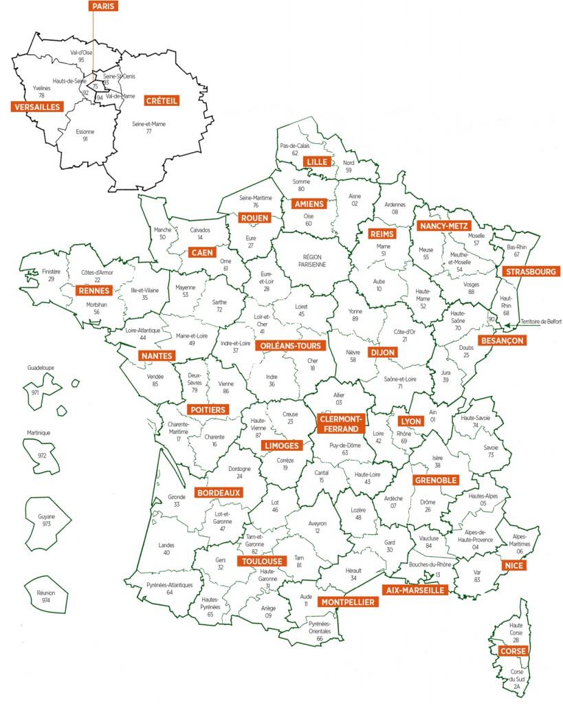 Carte des circonscriptions académiques